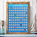 Gift Republic 100 Fish to Catch Bucket List Poster, Blue, N Applicable