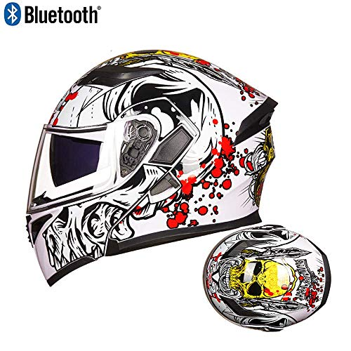SJ-SPORT Erwachsener Offroad-Bluetooth-Helm, Clamshell-ATV-Helm und Bluetooth-Headset, DOT-zertifizierter Outdoor-Reitschutzhelm,C,L Bluetooth-headset Clamshell