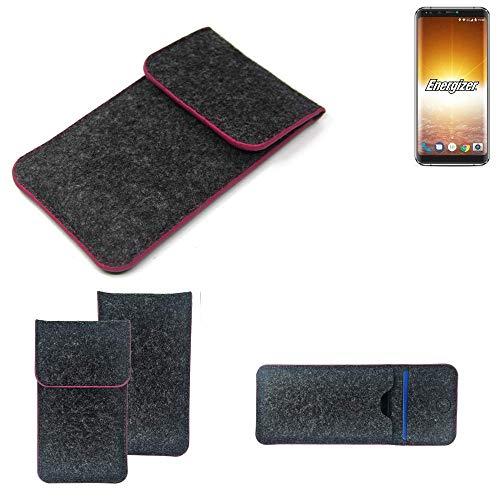 K-S-Trade® Filz Schutz Hülle Für Energizer P600S Schutzhülle Filztasche Pouch Tasche Case Sleeve Handyhülle Filzhülle Dunkelgrau Rosa Rand