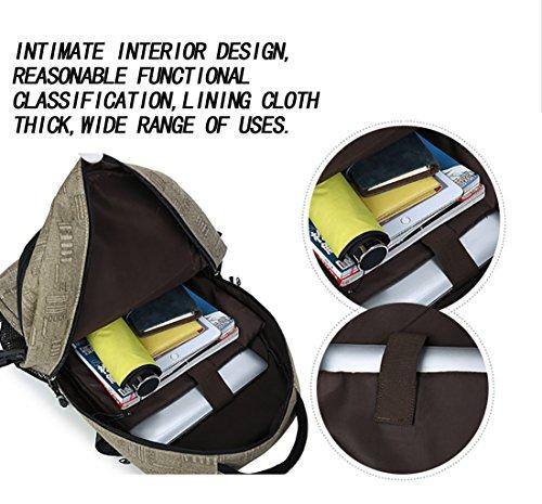 Flyingsky Canvas Rucksack, einfarbig Männer Tasche Rucksack für Reisen, Wandern und Outdoor-Casual-Aktivitäten Dunkelblau