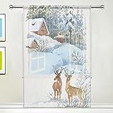 Use7 Winter-Vorhang mit Hirsch-Motiv, 139,7 x 213,4 cm, 1 Stück, weiße Schneekiefer, Moderne Fensterbehandlung, für Kinder, Zuhause, Wohnzimmer, Esszimmer, Spielzimmer, Dekoration