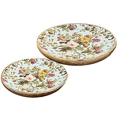 Set de 2 assiettes décoratives - motif: rose - Ø 17/22 cm