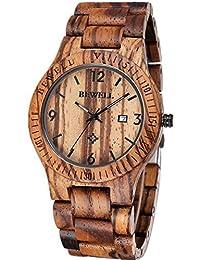 Vintage Umweltfreundlich Handgefertigt 100% Naturholz Zebraholz Armbanduhr Quarzuhr