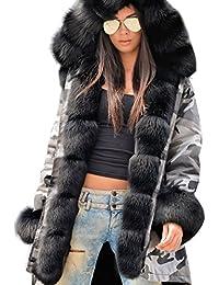 2c6c581843c7 Roiii® Damen Winter Camouflage Dick Grau Pelz Parka Lange Kapuzenjacke  Outwear EU 36-50