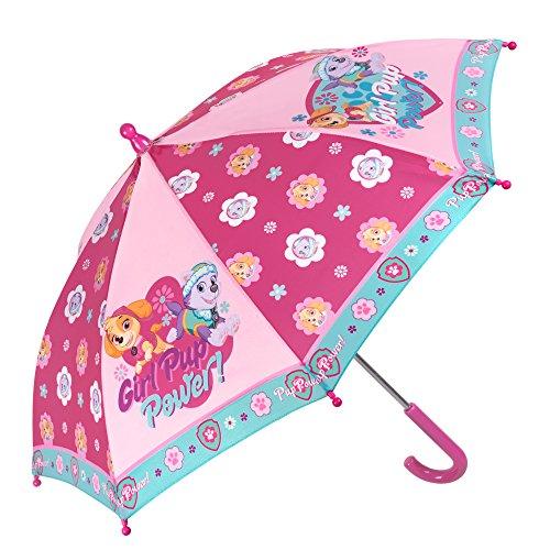 Paw Patrol Kinder Schirm für Mädchen - Stockschirm mit Skye und Everest - Robuster und Windfester Regenschirm - Pink - 3 bis 5 Jahre - Durchmesser 66 cm - Perletti