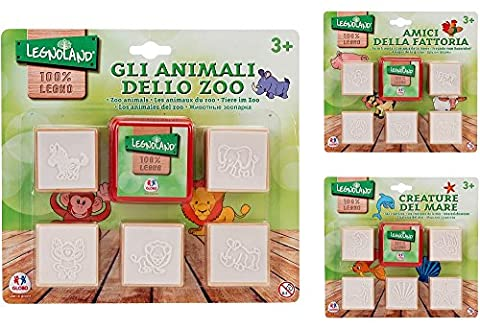 Globo Toys Globo - 37434 3 Assorted Legnoland Wooden Stamps (Stacking Legno)