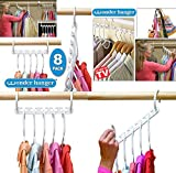 SMARTSTORE Wonder Hanger, Triple Wardrobe SPACE SAVER & LED KEYCHAIN Light-Cupboard Rail & Clothes Organiser (8Pc)