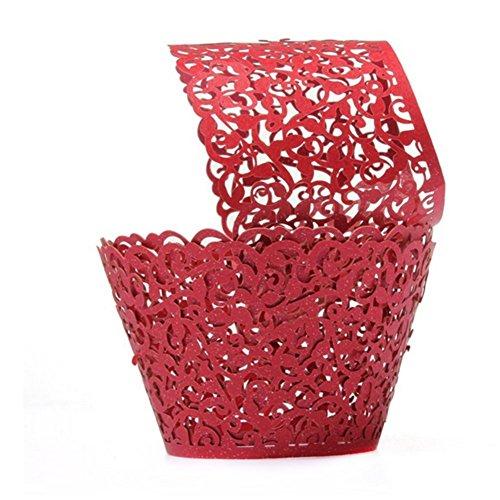 Wrappers Cupcake Förmen Cupcake Verpackungen Backförmchen Kuchenverpackung für Hochzeit Geburtstagsparty Baby Dusche Dekoration (Rot) ()