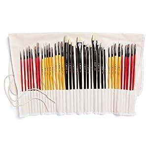 Colore - Pinceaux d'art avec étui en nylon - PAQUET complet de 36 Pinceaux professionnels - 12 pinceaux acryliques, 12 huiles et 12 aquarelles - Pinceaux légers et durables