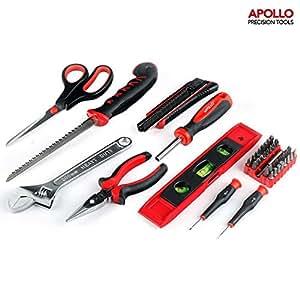 Apollo precision tools Boîte de 42 outils avec scie à lame coulissante, pince à long bec, clé à molette, couteau à lame rétractable, 32 embouts de tournevis, tournevis de précision, ciseaux et nivelle