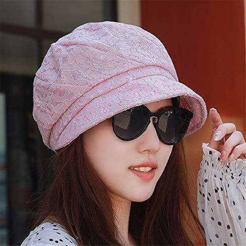 YXLMZ Frauen Hut Herbst Mode Spitze Baskenmütze dekorativen achteckigen Hut lässig draußen Baotou Hut weiblichen Hut, Code 54-58cm (einstellbar), Leder-Pulver (Spitze Hüte Dekorative)