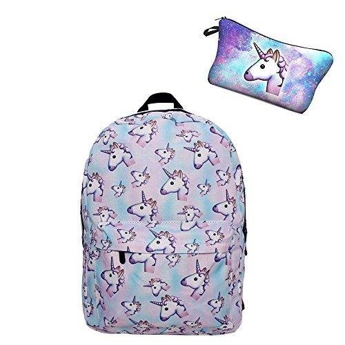 Giddah fashion colorato 2pz/pack cute scuola unicorno rosa delle ragazze zaini per bambini set (#2)