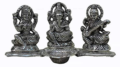 Crafticia Metal Lord Laxmi Ganesh Saraswati Idol Statue with Diya Decoration Pooja Showpiece (8X4 inch, Silver)