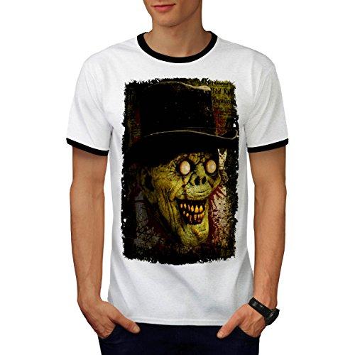 Gentleman Tot Mann Zombie Monster Hut Herren M Ringer T-shirt | (Maske Gentleman Der Toten Tag)