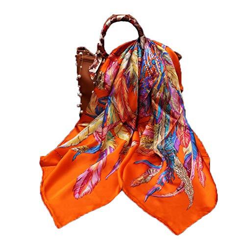 Schals Schal Damen Mütze Umschlagtücher Seide Große quadratische Handtuch Vier Jahreszeiten Kleidung Sonnencreme Baotou Druckverfahren Chiffon Tingting (Farbe : Orange, größe : 110 * 110cm)