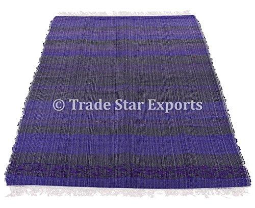 Indian intrecciato in 4x 6, grande superficie Durries Rugs, tappeto runner, decorativo Chindi Rag, reversibile, tappetino da yoga Pattern-2