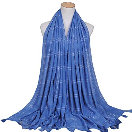 Fulltime®Femelle Écharpes,Écharpes Mode Plaid Glands long souple Wrap Châle Slub Echarpe Coton Bleu