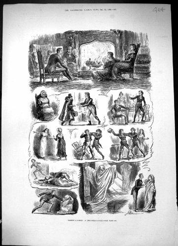 Stampa domante 1882 dell'oggetto d'antiquariato della commedia della camera della famiglia del fantasma di storia di natale