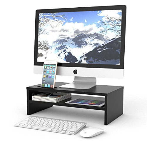 1home Wood Monitor Stand TV PC Laptop Computer Screen Riser Desk Storage 2 Tiers Black, W 420 x D235 x H 130mm