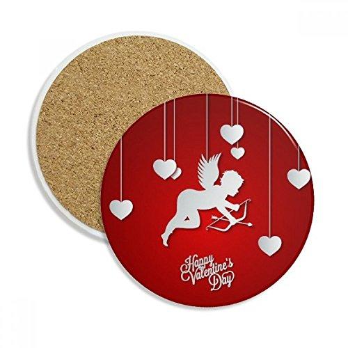 Angel Happy Valentinstag Stein Getränk Keramik-Untersetzer für Becher-Schalen-Geschenk 2pcs Mehrfarbig ()