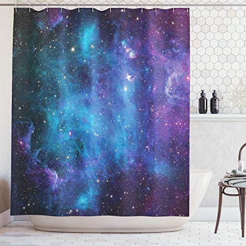ABAKUHAUS Duschvorhang, Galaxie mit Sternen Farbvolle Fantastische Darstellung des Universums Planeten Kosmos Mehrfarbig, Wasser und Blickdicht aus Stoff mit 12 Ringen Schimmel Resistent, 175 X 200 cm (Duschvorhang Sternen Mit)