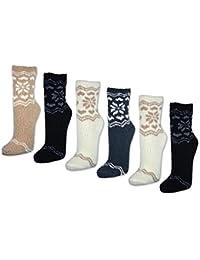 6 oder 12 Paar Kuschelsocken Winter-Muster Damen Kuschel Socken Bettsocken - 37589 - sockenkauf24