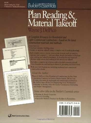 Plan Reading and Material Takeoff: Builder′s Essentials (RSMeans)