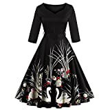 DressLily Women Swan Printed Belted Dress(Black XL)
