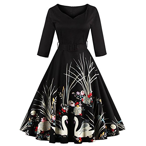 DressLily Women Swan Printed Belted Dress(Black L)