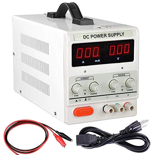 HaoFst Variable Lab Lab ajustable Fuente de alimentación de banco 0-30V 0-5A - Cable eléctrico UK