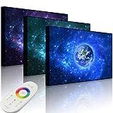 Lightbox-Multicolor - Immagine LED con Illuminazione, Pianeta Terra nello Spazio, 100 x 70 cm