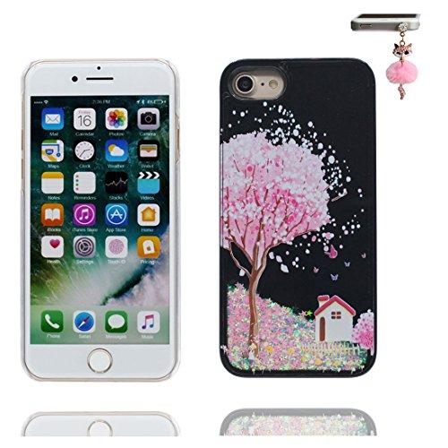iPhone 6 Custodia, Bling Glitter ultra sottile / Case iPhone 6s Copertura / Shock Dust Resistant Shell iPhone 6 Cover 4.7 & tappi antipolvere / Fiore di prugne fiore Nero 7