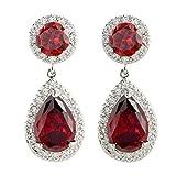 SELOVO Garnet-color Zircon Stone Tear Drop Dangle Red Earrings Jewelry Silver Tone by SELOVO