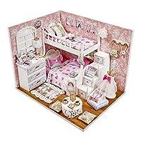 Jiang Hui Dollhouse Kit, DIY Dollhouse Kit Assembled, Mini Romantic Pink Princess Small Room Model, Miniature Dollhouse Kits, for Christmas Birthday