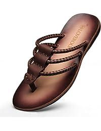 QIDI Sandales PVC Maille Résistant À L'usure Respirant Casual Noir Bleu Brown Chaussures De Plage Pantoufles (Couleur : Marron, taille : EU40/UK7)