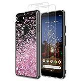 MASCHERI Cover Google Pixel 3A Glitter Custodia + Pixel 3A Pellicola Protettiva in Vetro Temperato [2 Pacchi], Brillantini Silicone Liquido...