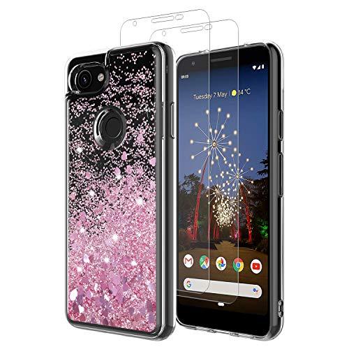 MASCHERI Hülle für Google Pixel 3A Glitzer Handyhülle Mit Pixel 3A Schutzfolie, [1 Hülle+2 Glas] Schutzfolie Folie Glas Bildschirmschutzfolie TPU Silikon Case Cover - Rosegold