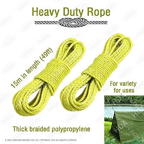 Heavy Duty–Corda da giardino corda, corda, forte corda di traino corda (giallo), confezione da 2