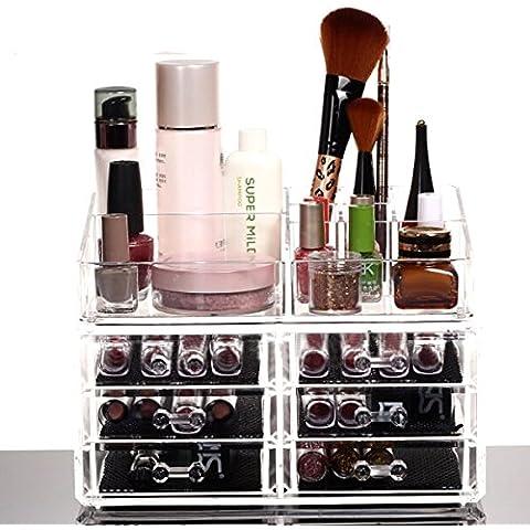 HQdeal Trucco Organizzatore cosmetici in acrilico trasparente porta inserto contenitore custodia di lusso con cassetti, E934 - Plastica Trasparente Inserti