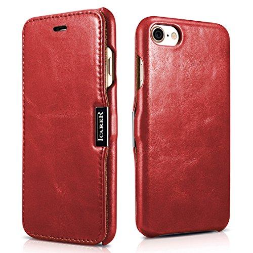 SLEO Funda iPhone 7/iPhone 8, Carcasa con Tapa Cuero Interior Ultra Slim Flip Folio ICARER Case para...