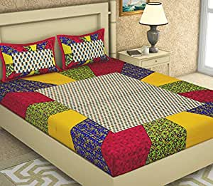 BedZone 100% Cotton Comfort King Size Tradition Double bedsheet for King Size Bed Offer with 2 Pillow Cover