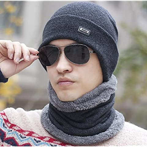 XWG Sombrero / 2 Hombres unidades sombrero / Hombre invierno tendencia de la juventud / invierno de punto Cap Baotou sombrero / más gruesa de terciopelo cuello Sets / Moda personalizada ( Color : 1# )