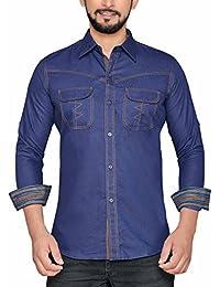 PP Shirts Men Blue Coloured Denim Casual Shirt (PP1217114)