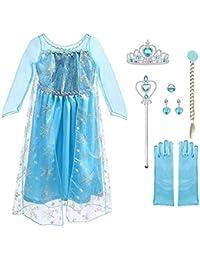 URAQT Vestido de Princesa Elsa, Reina Frozen Disfraz Elsa Vestido Infantil Niñas Costume Azul Cosplay de Disney Disfraz de Halloween, Cumpleaños, Carnaval y la Fiesta (120)