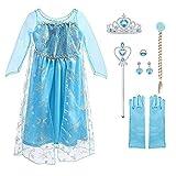 URAQT Elsa Frozen Costume, Set da Principessa Elsa Corona Bacchetta Guanti Treccia, Elsa Costume di Cosplay Party Halloween Costume Abito delle Ragazze di Natale Vestito Fantasia