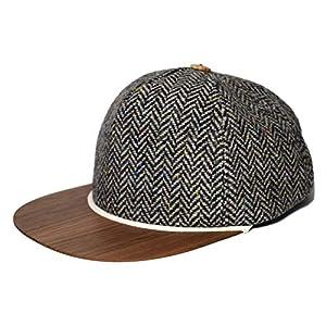 Tweed Cap mit edlem Holzschild Made in Germany - Sehr leichte & bequeme Wintercap - One size fits all Snapback Cappy - Tweed Mütze Geschenk für Männer