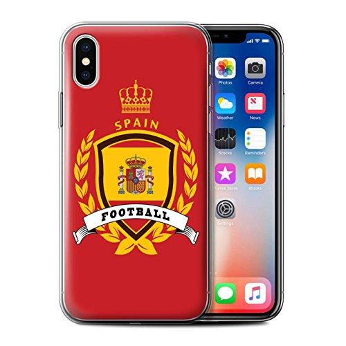 Stuff4 Gel TPU Hülle / Case für Apple iPhone X/10 / Italien/Italienisch Muster / Fußball-Emblem Kollektion Spanien/Spanische
