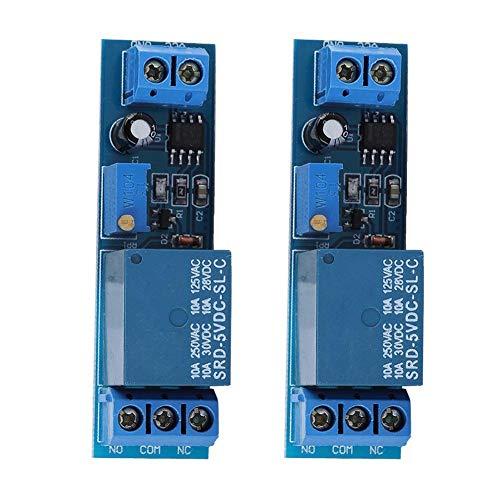 Kafuty 2 Pcs Relaismodul NE555 Einstellbar 0-10 Sekunden Verzögerung Relaismodul 5 V mit Eingangsleistungsanzeige und Relais Freilaufschutz, Geeignet für Geräte mit 220 V / 10 A Wechselstrom -