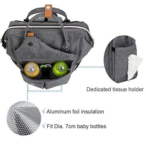 Imagen para Lekebaby Mochila de Pañales Gran Capacidad Versátil Resistente al Agua Bolsa de Pañales para Bebés, Mochila Pañales con Cambiador, Gris