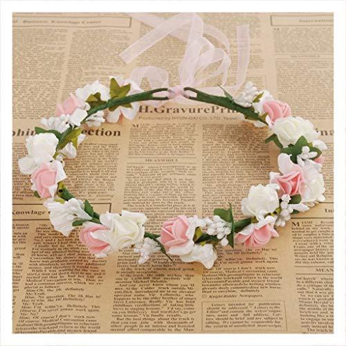 Ob Garland (DUOMING Floral Haar Kranz Zubehör Headwear Kranz Stirnband Hochzeit Mädchen Garland Headwear Hochzeit Zubehör Kranz Headwear (Farbe : Weiß))